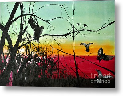 Doves At The Dawn Metal Print