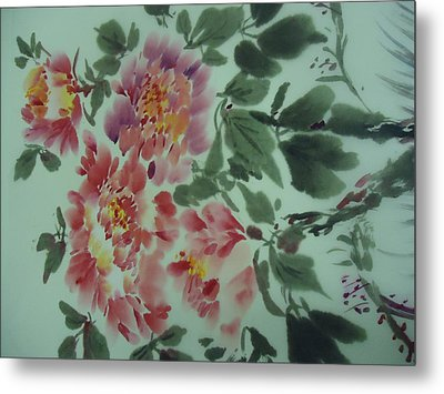 Metal Print featuring the painting  Flower 0725-2 by Dongling Sun