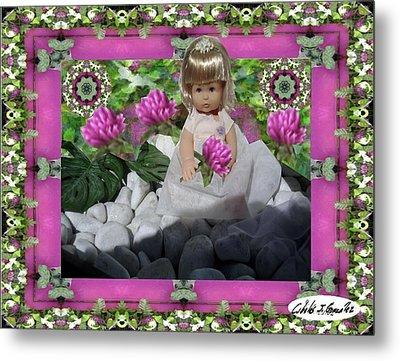 Flower Girl Upon Rocks Metal Print by Cibeles Gonzalez