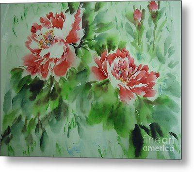 Metal Print featuring the painting  Flower0728-5 by Dongling Sun