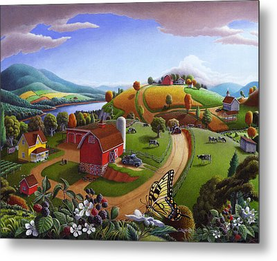 Folk Art Blackberry Patch Rural Country Farm Landscape Painting - Blackberries Rustic Americana Metal Print by Walt Curlee