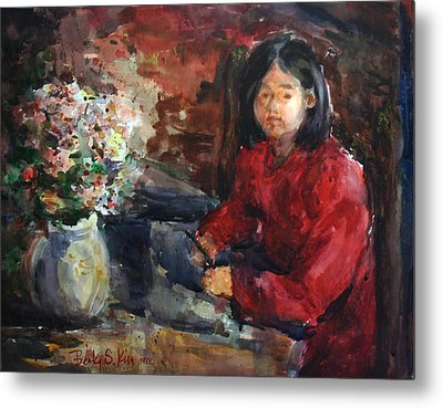 Girl In Red Dress Metal Print by Becky Kim