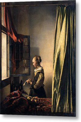 Girl Reading A Letter By An Open Window Metal Print by Johannes Vermeer