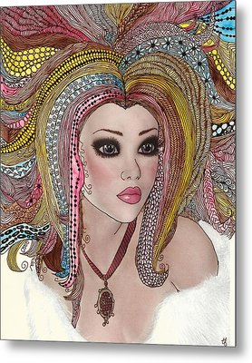Girl With The Rainbow Hair Metal Print