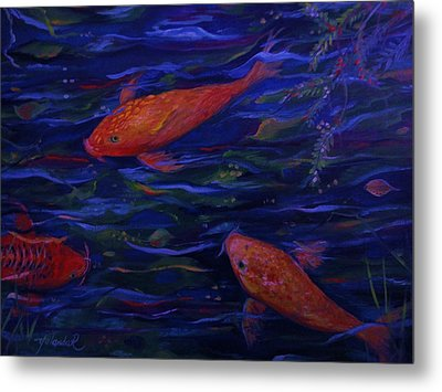 Golden Fish Koi Metal Print by Yolanda Rodriguez