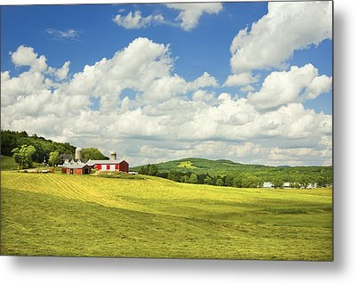 Hay Harvesting In Field Near Red Barn Maine Photograph Metal Print by Keith Webber Jr