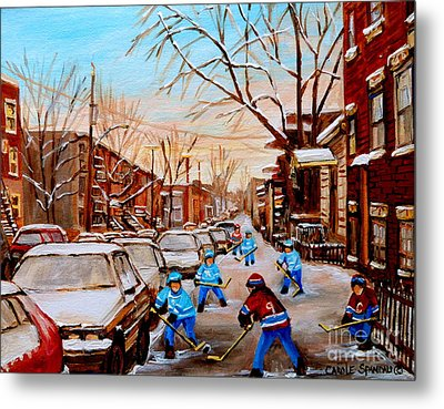 Hockey Art- Verdun Street Scene - Paintings Of Montreal Metal Print by Carole Spandau