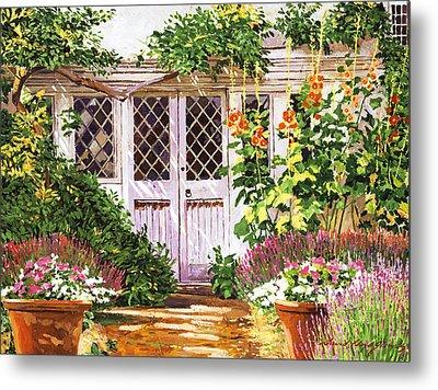 Hollyhock Gardens Metal Print by David Lloyd Glover
