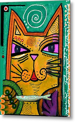 House Of Cats Series - Fish Metal Print by Moon Stumpp