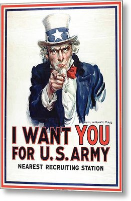 I Want You For The Us Army Recruitment Poster During World War I Metal Print