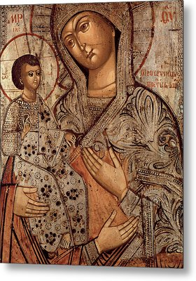 Icon Of The Blessed Virgin With Three Hands Metal Print by Novgorod School