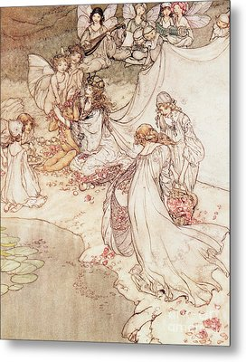 Illustration For A Fairy Tale Fairy Queen Covering A Child With Blossom Metal Print