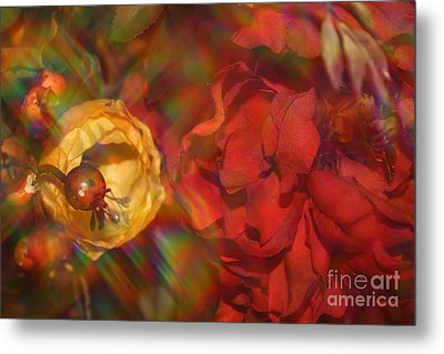Metal Print featuring the photograph  Impressionistic Bouquet Of Red Flowers by Dora Sofia Caputo Photographic Art and Design