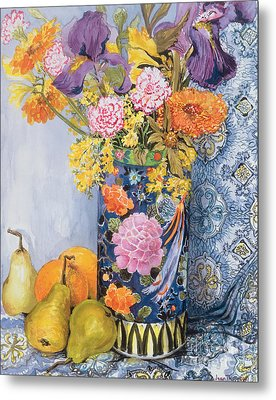 Iris And Pinks In A Japanese Vase With Pears Metal Print by Joan Thewsey
