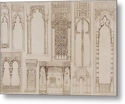 Islamic And Moorish Design For Shutters And Divans Metal Print by Jean Francois Albanis de Beaumont