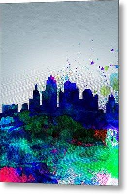 Kansas City Watercolor Skyline Metal Print by Naxart Studio