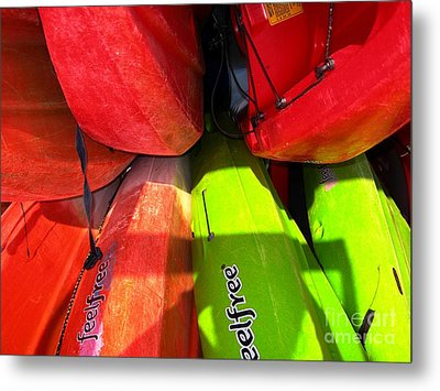 Metal Print featuring the photograph  Kayaks by Michelle Meenawong