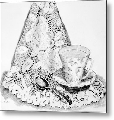 Lace With Cup Metal Print