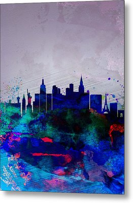 Las Vegas Watercolor Skyline Metal Print by Naxart Studio