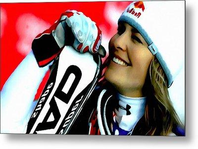 Lindsey Vonn Skiing Metal Print by Lanjee Chee