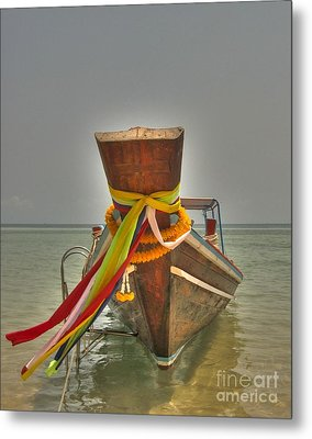 Metal Print featuring the photograph  Long Tail Boat by Michelle Meenawong
