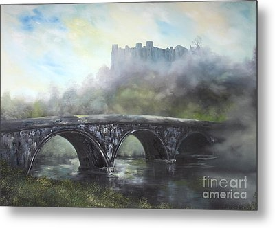 Metal Print featuring the painting  Ludlow Castle In A Mist by Jean Walker