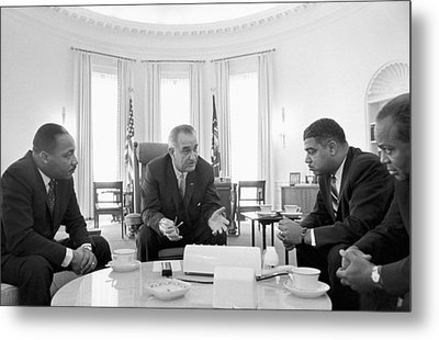 Lyndon Baines Johnson 1908-1973 36th President Of The United States In Talks With Civil Rights  Metal Print