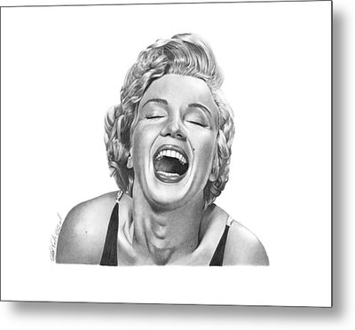 Metal Print featuring the drawing  Marilyn Monroe - 034 by Abbey Noelle