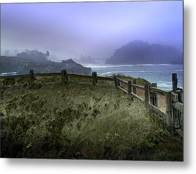 Mendocino Cliff Side Foggy Day   Metal Print by Judy  Johnson