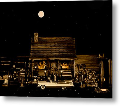 Miniature Log Cabin Scene With The Classic Old Vintage 1959 Dodge Royal Convertible In Sepia Color Metal Print by Leslie Crotty