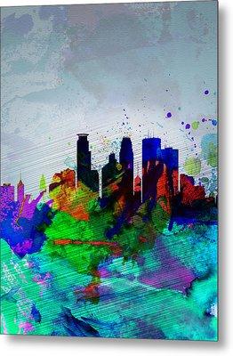 Minneapolis Watercolor Skyline Metal Print by Naxart Studio