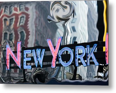 New York Neon Sign Metal Print by Sophie Vigneault