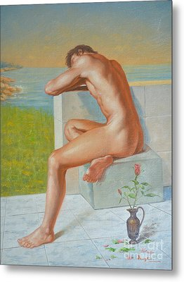 Original Classic Oil Painting Man Body Art  Male Nude And Vase #16-2-4-09 Metal Print