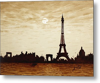 Paris Under Moonlight Silhouette France Metal Print by Georgeta  Blanaru