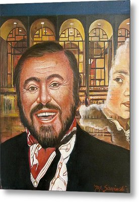 Pavarotti And The Ghost Of Lincoln Center Metal Print by Melinda Saminski