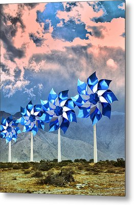 Pinwheels Windmills Palm Springs Metal Print by William Dey