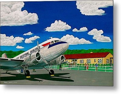 Portsmouth Ohio Airport And Lake Central Airlines Metal Print by Frank Hunter