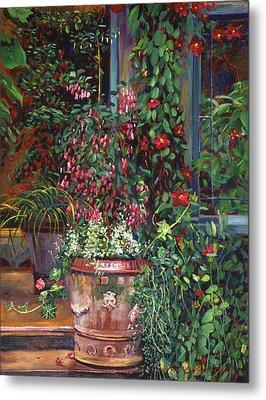 Pot Of Fuschia Flowers Metal Print by David Lloyd Glover