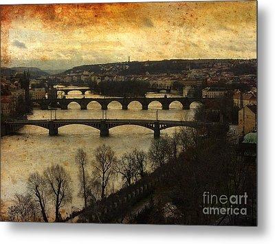 Vintage Prague Vltava River Metal Print