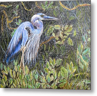 Metal Print featuring the painting  Ptg  Blue Heron by Judy Via-Wolff