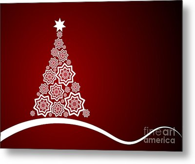 Red And White Christmas Card Metal Print