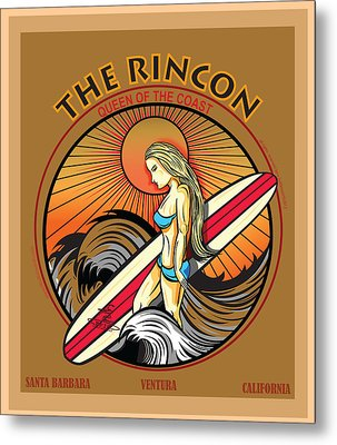 Rincon Ventura California Surfing Metal Print by Larry Butterworth