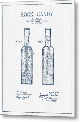 Rock Candy  Patent Drawing From 1881 - Blue Ink Metal Print