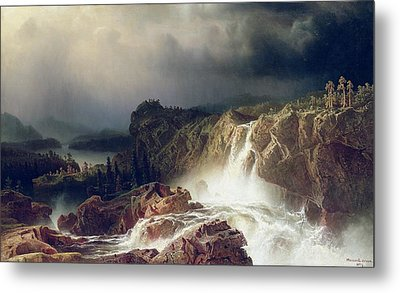 Rocky Landscape With Waterfall In Smaland Metal Print by Marcus Larson