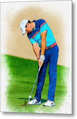 Rory Mcilroy Plays His Second Shot On The Par 4 Metal Print