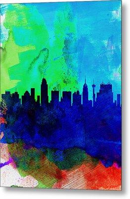 San Antonio Watercolor Skyline Metal Print by Naxart Studio