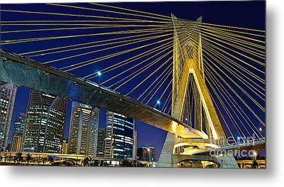 Sao Paulo's Iconic Cable-stayed Bridge  Metal Print