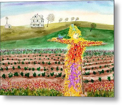 Scarecrow With Nesting Companion Metal Print