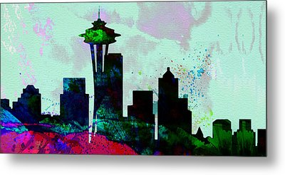 Seattle City Skyline Metal Print by Naxart Studio
