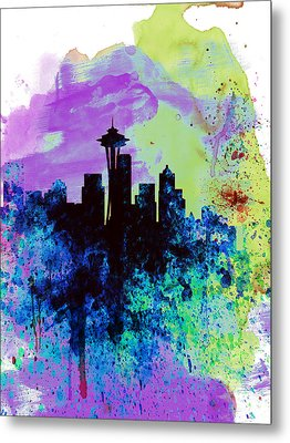 Seattle Watercolor Skyline 1 Metal Print by Naxart Studio